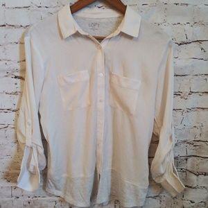 Ann Taylor Loft long sleeve button down shirt